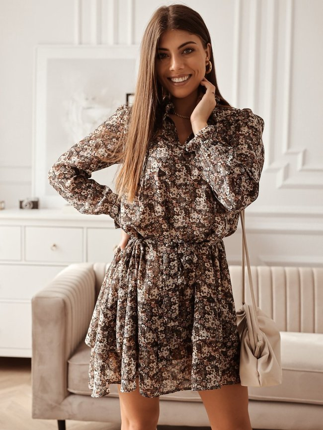Floral dress with a tie at the neckline