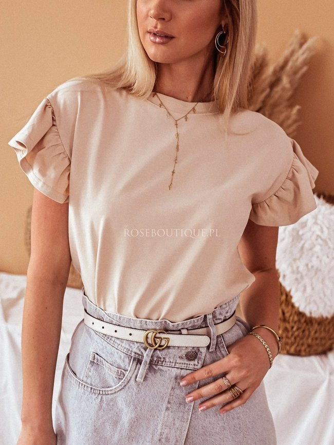 A beige blouse with a frill
