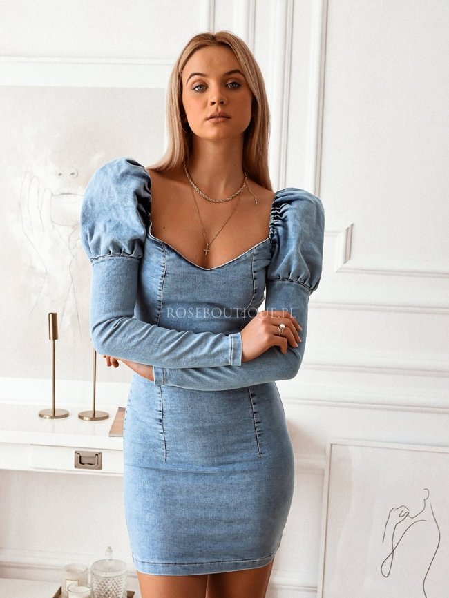 A tight-fitting denim dress with long sleeves