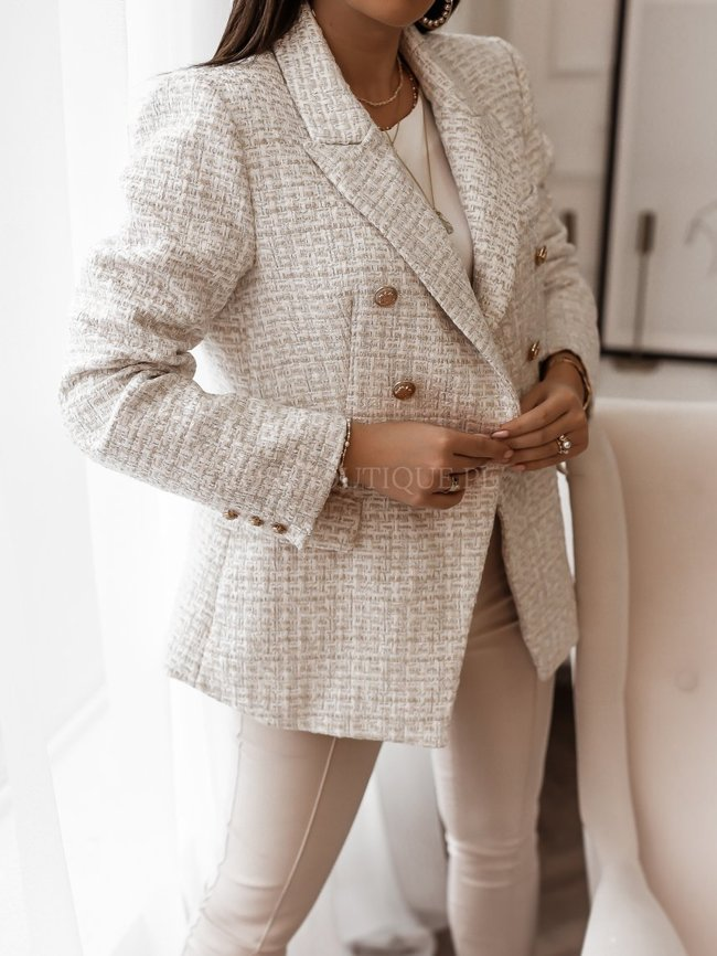Beige and white double-breasted jacket