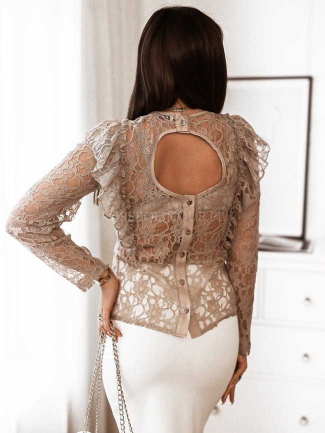 Beige blouse with a cut-out on the back