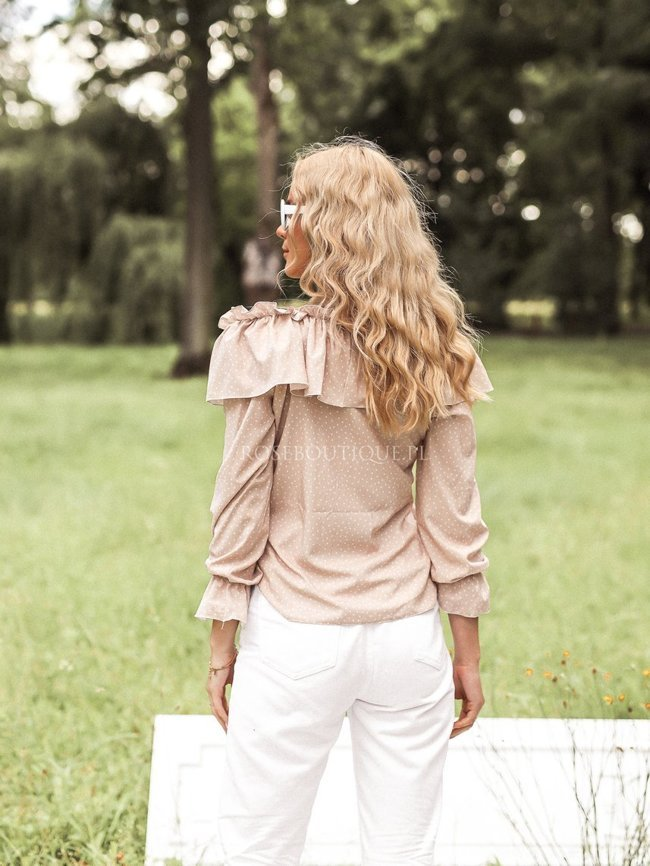 Beige blouse with bare shoulders and dots
