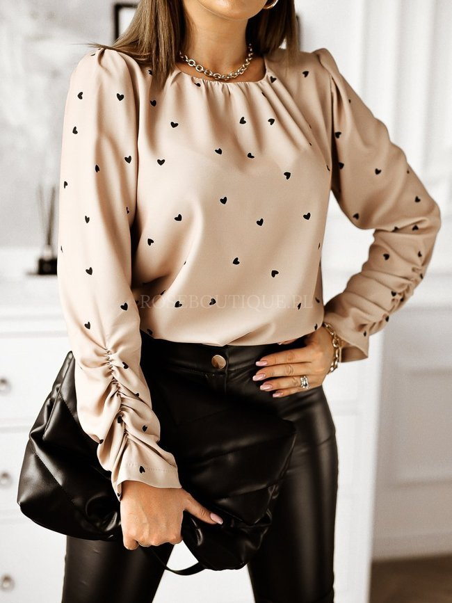 Beige blouse with hearts in gold detail
