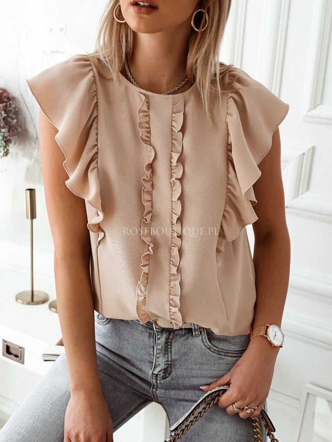 Beige blouse with short sleeves and a frill