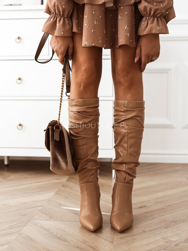 Beige boots with eco leather on the post