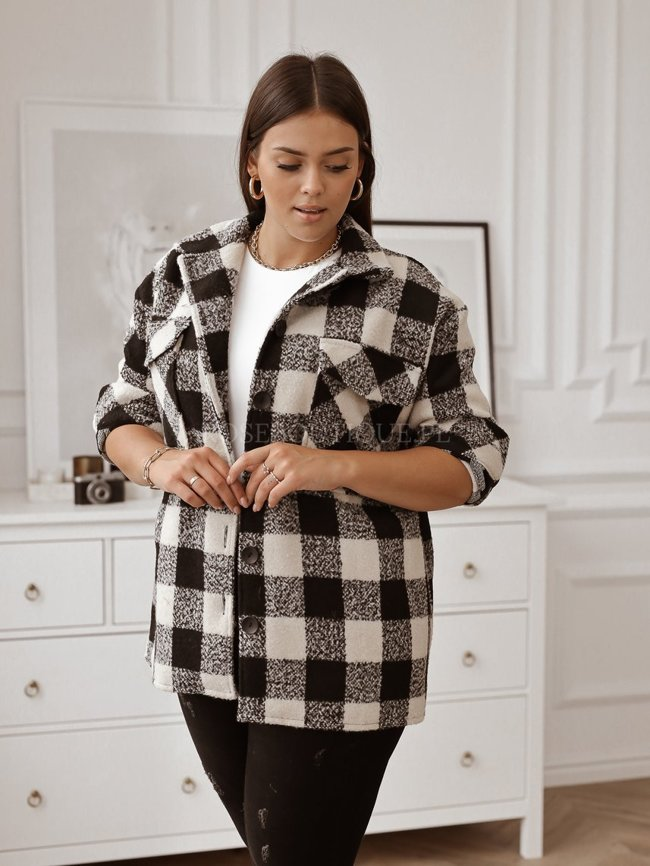 Beige checked shirt with wool