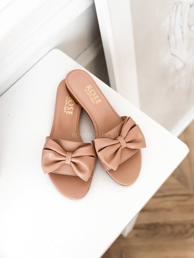 Beige leather flip-flops with bow - Rose Premium