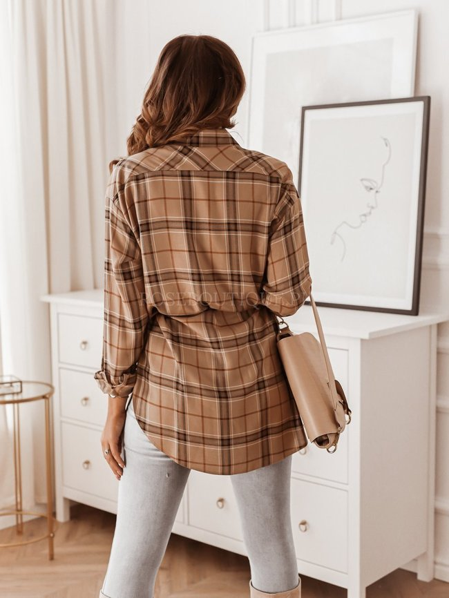 Beige long checked shirt