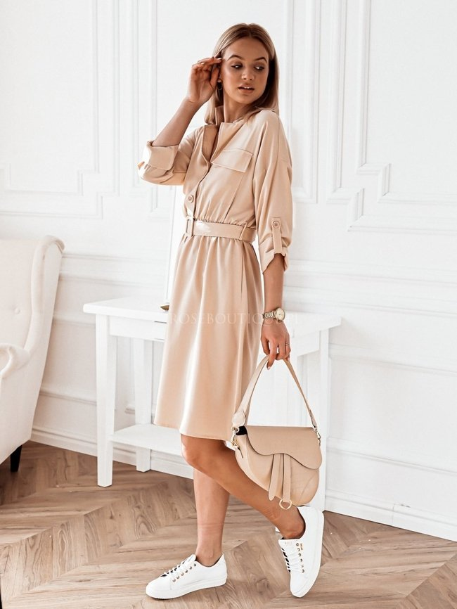 Beige midi dress with a pocket