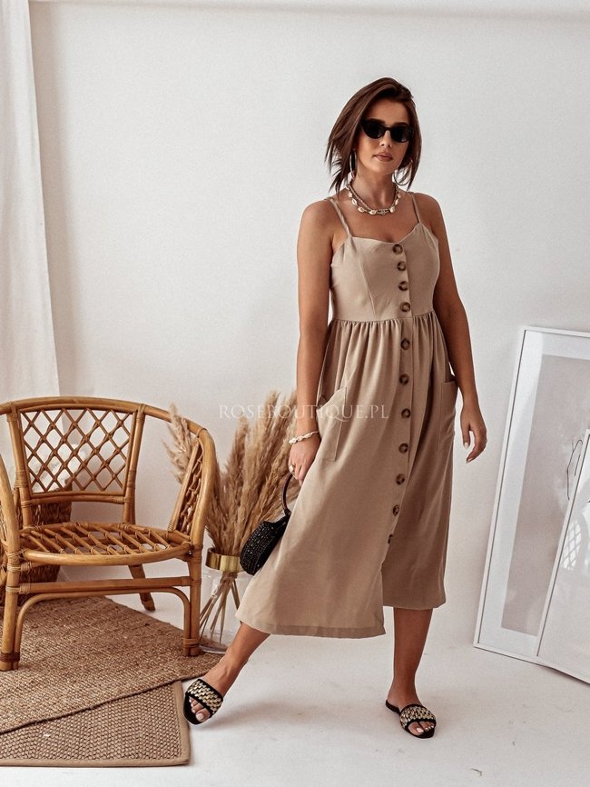 Beige midi dress with straps