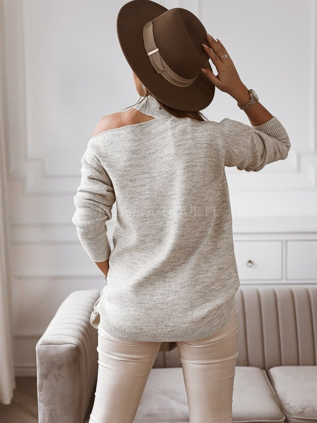Beige oversize sweater with a cut-out