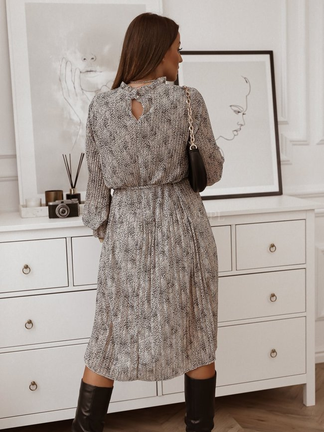 Beige pleated dress with a white pattern