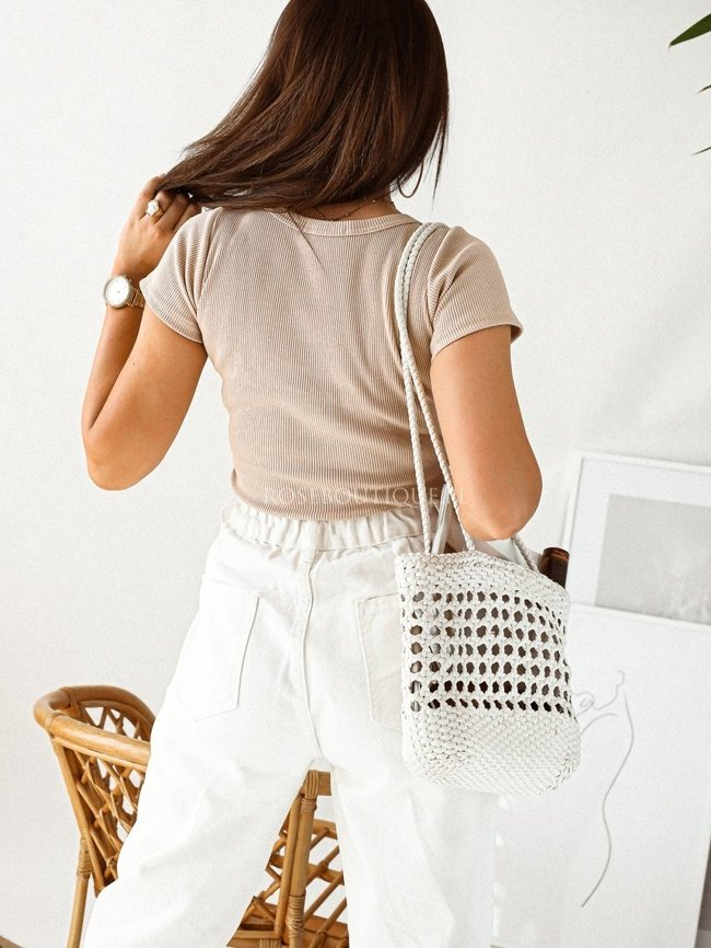 Beige ribbed blouse with short sleeves