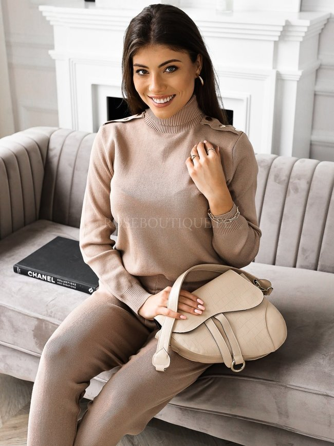 Beige set of sweater with buttons and pants