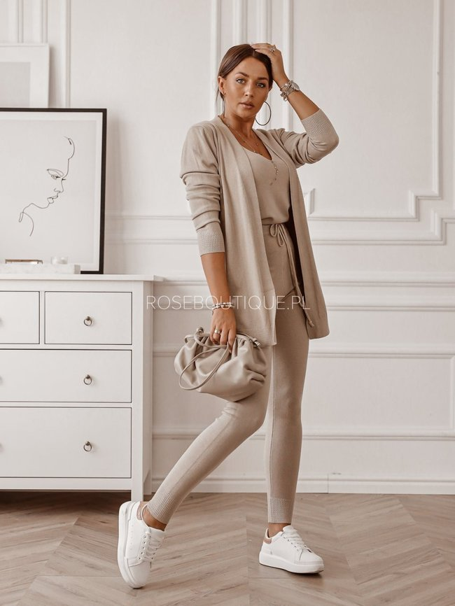 Beige set of top, sweater and pants