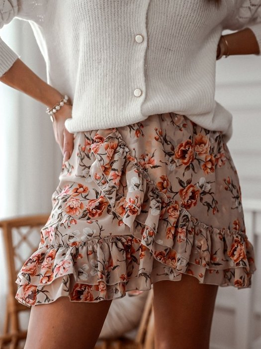 Beige skirt with red flowers