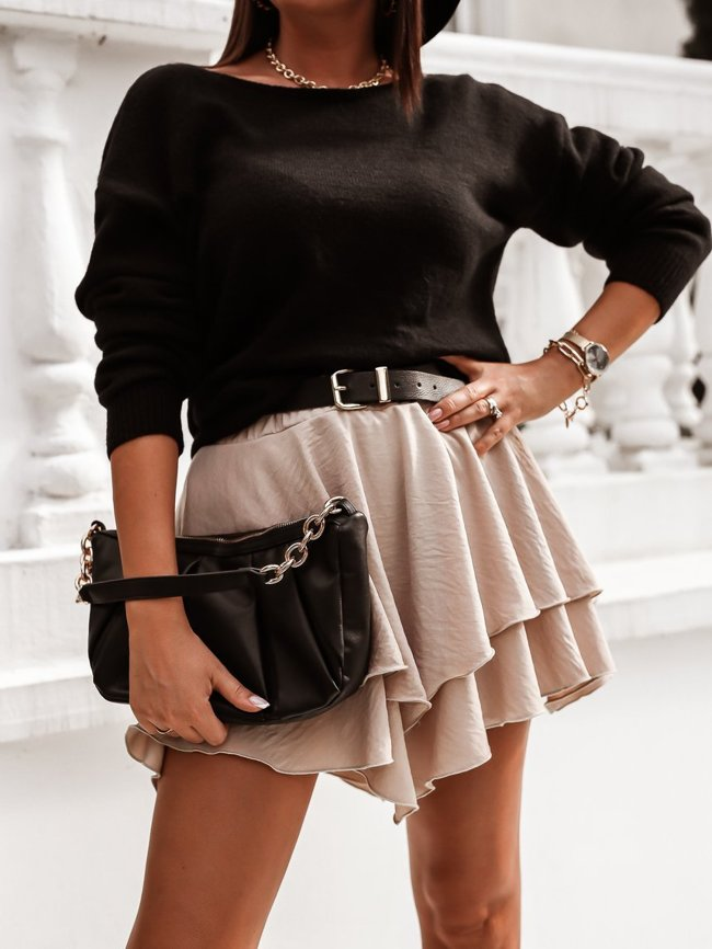 Beige smooth skirt with a double frill