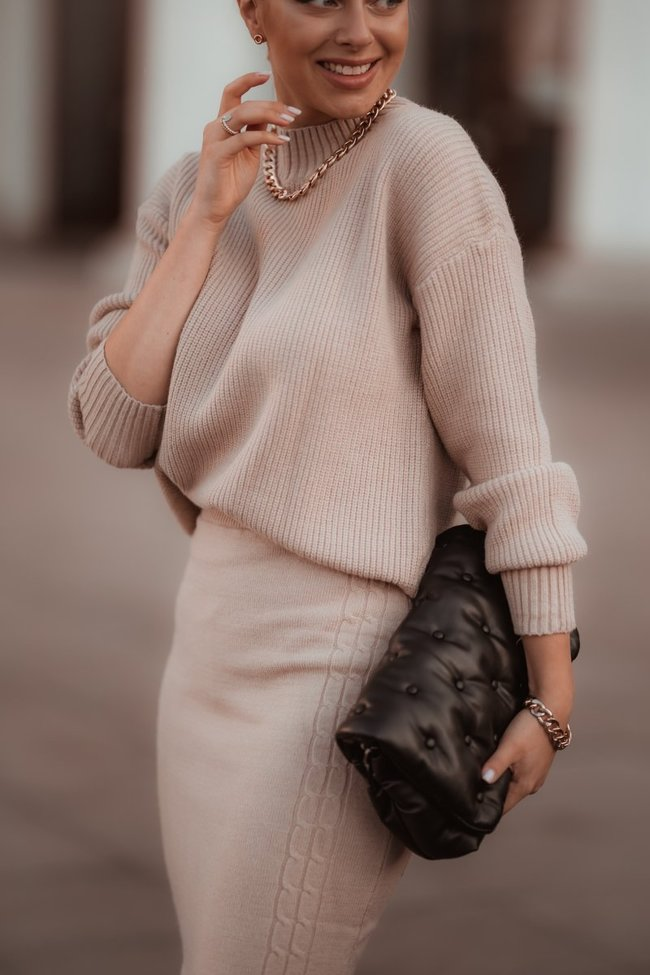 Beige sweater and skirt set