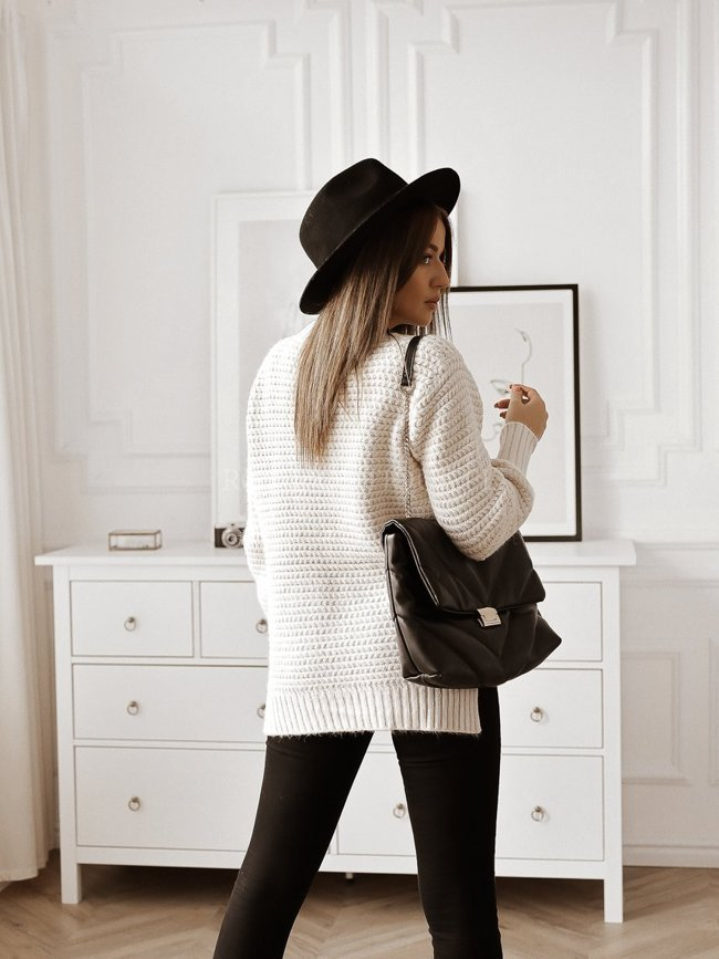 Beige sweater with a slit