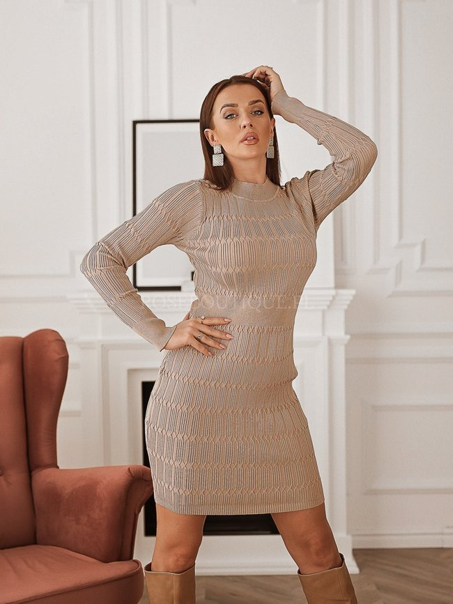 Beige tight dress with embossing