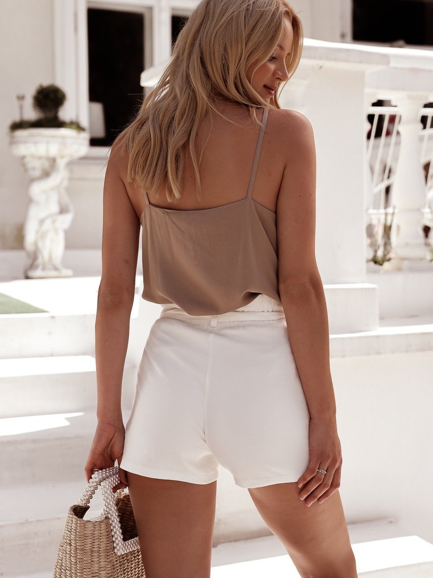 Beige top in v-neck