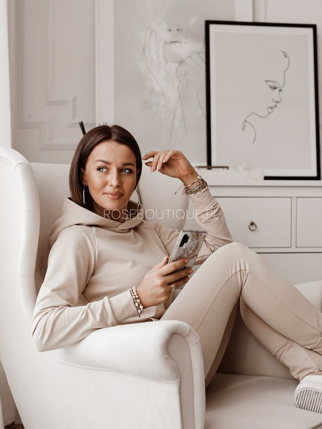 Beige tracksuit set, pants and a sweatshirt