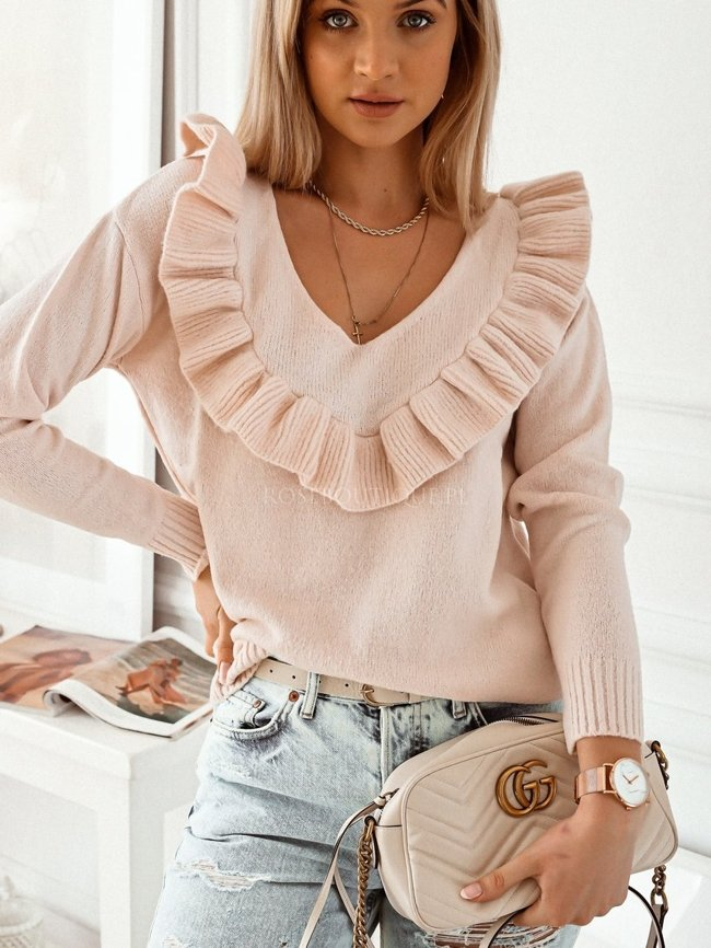Beige v-neck sweater with a frill