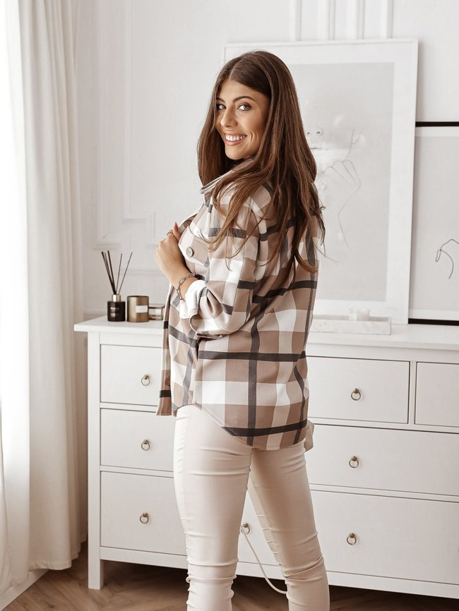 Beige woolen checked shirt