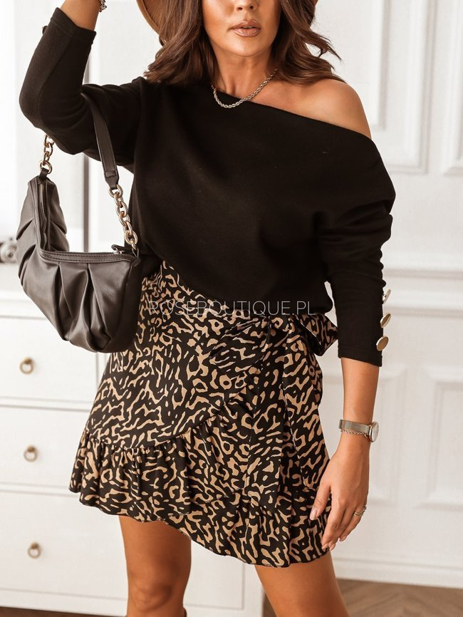 Black and beige skirt with a frill and a tie