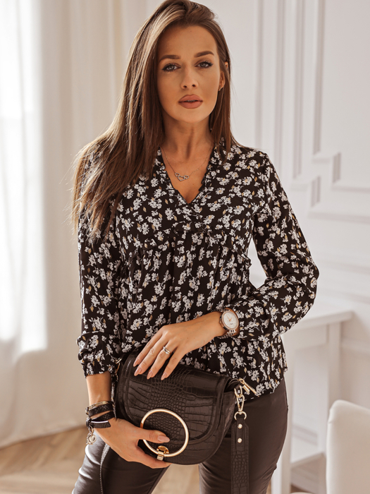 Black blouse with white-gold pattern