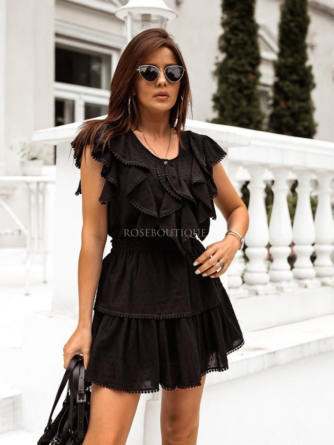 Black cotton skirt and blouse set