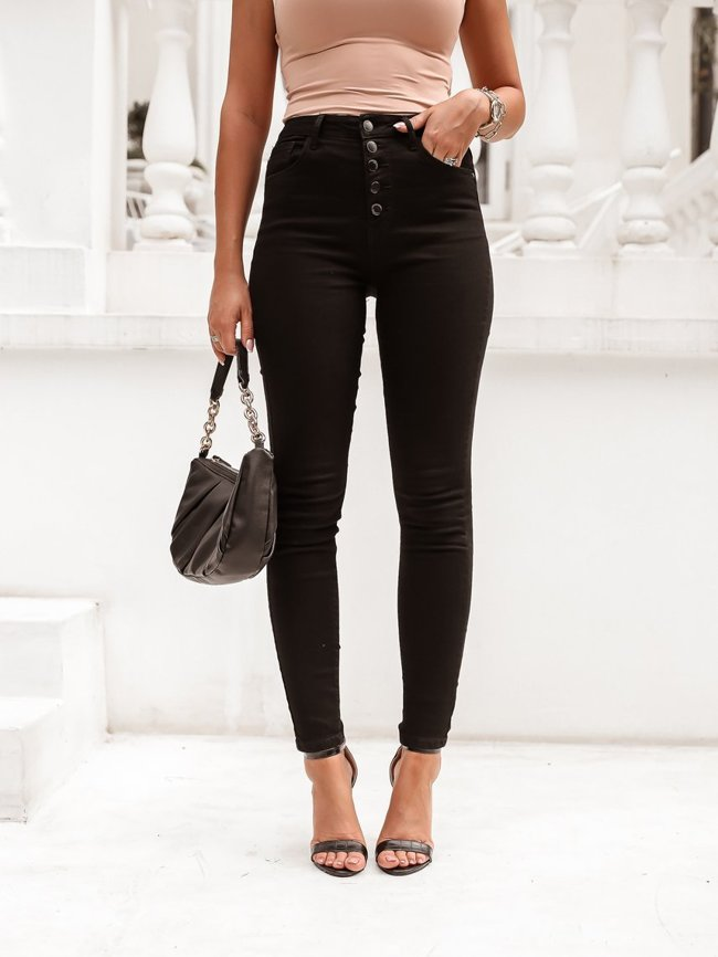 Black high-waisted pants with buttons