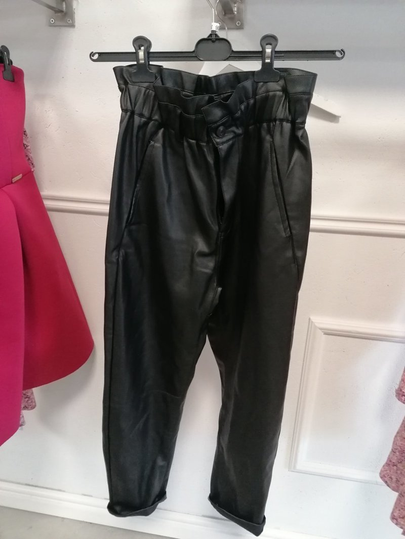 Black leather paper bag trousers