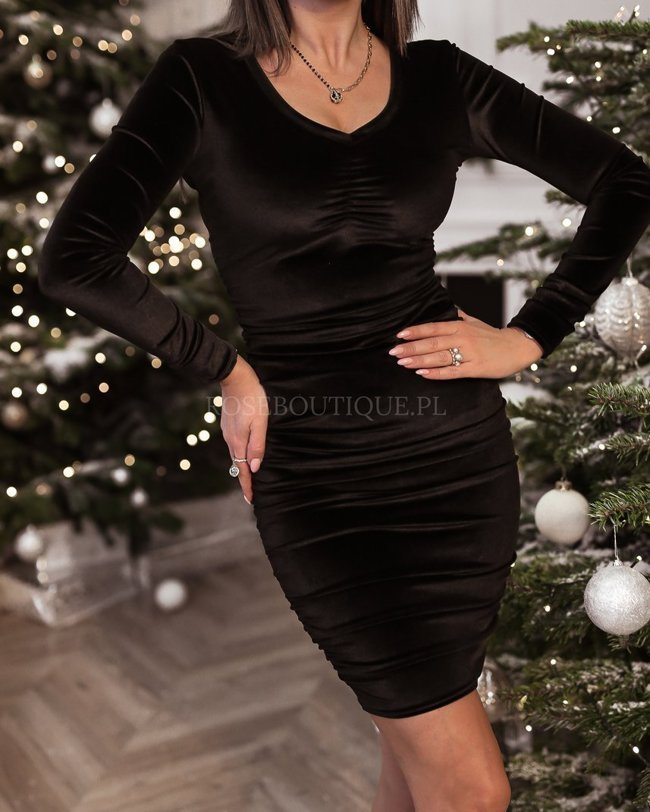 Black mini dress with shirring