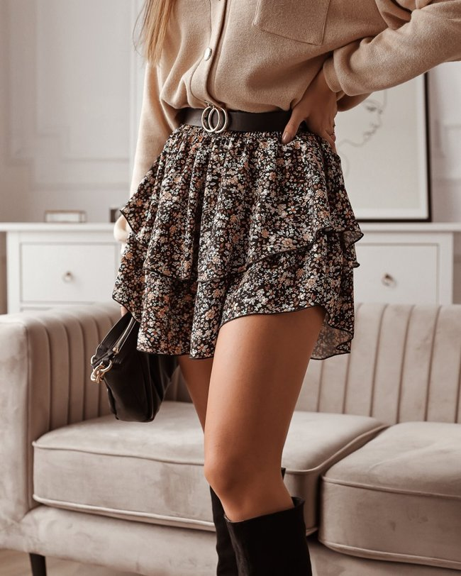 Black mini skirt with small flowers