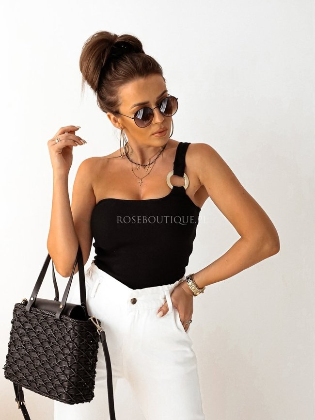 Black one-shoulder body with a belt