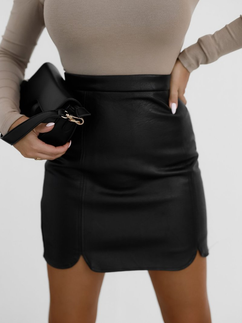 Black skirt made of eco leather