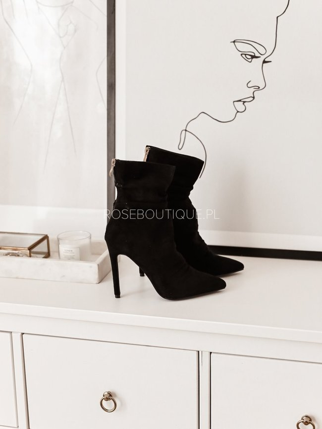 Black suede ankle boots on a high heel
