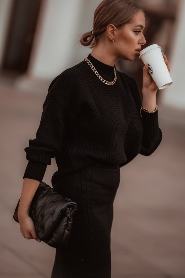 Black sweater and skirt set