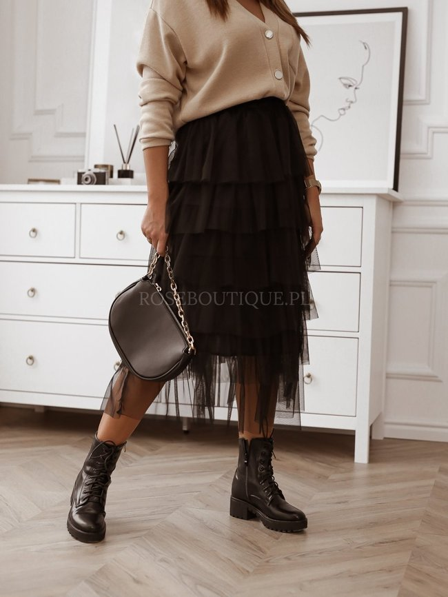 Black tulle skirt with flounces