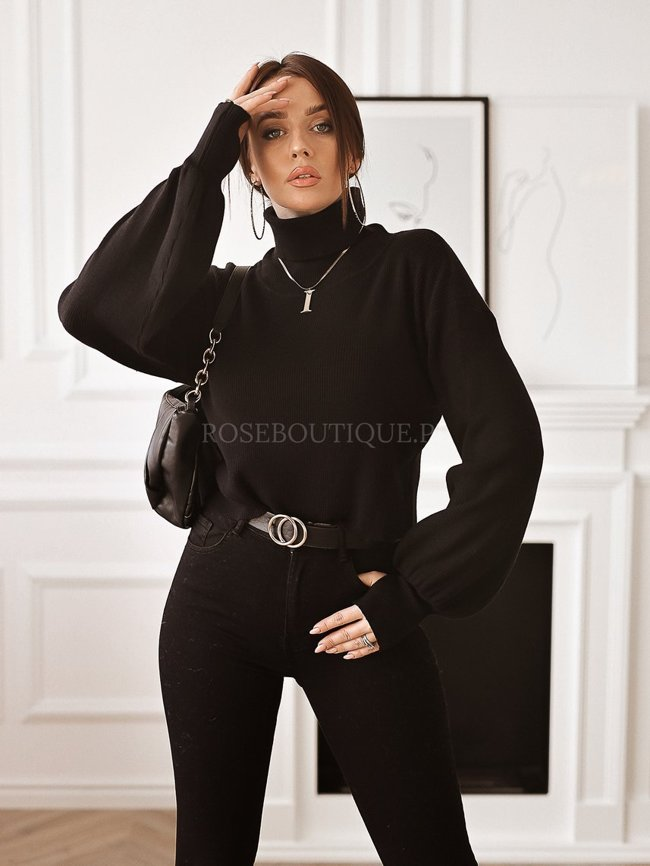 Black turtleneck with wide sleeves
