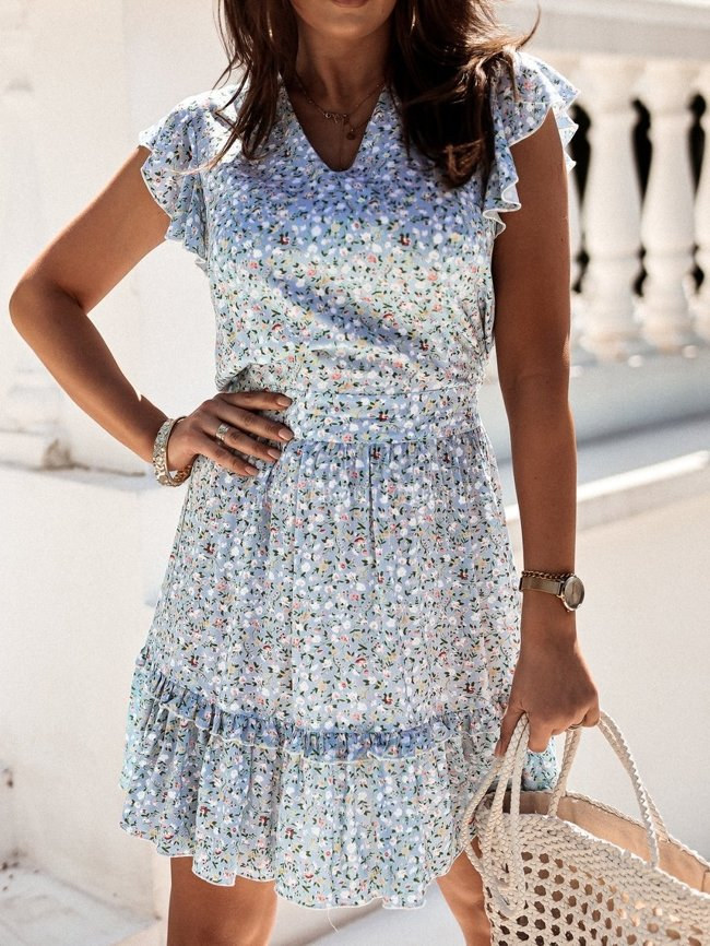 Blue dress with a floral pattern - Rose Premium