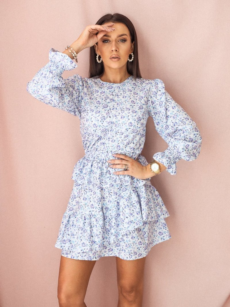 Blue floral dress with a frill