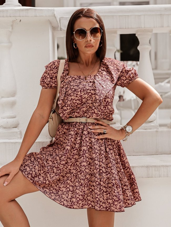 Burgundy floral dress with a tie