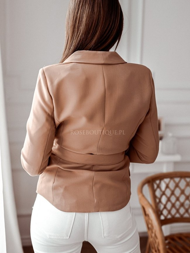 Caramel elegant double-breasted jacket with a belt
