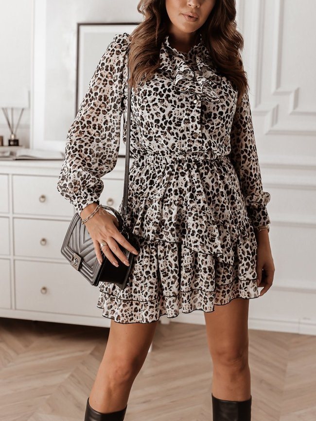 Chiffon dress with a leopard print