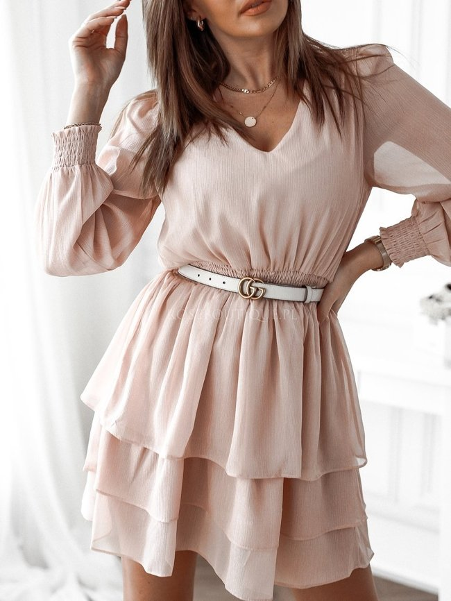 Chiffon dress with a shiny thread - Dirty pink