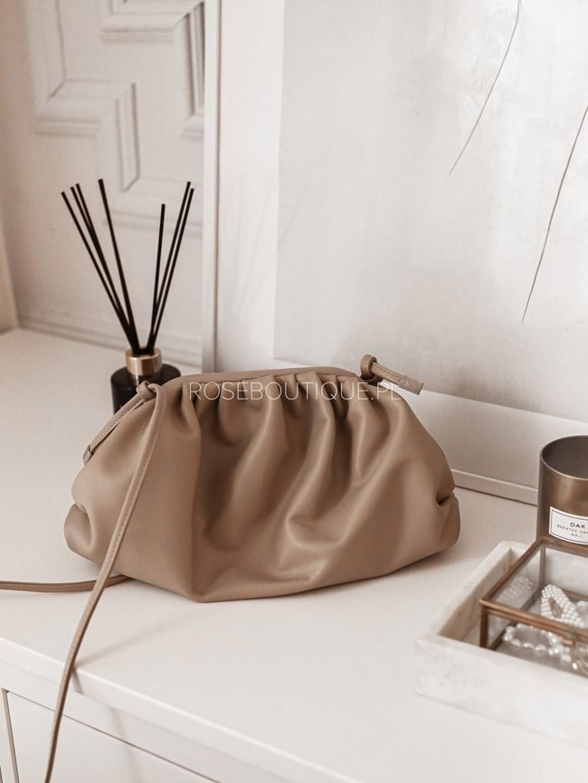 Coffee crinkled clutch bag