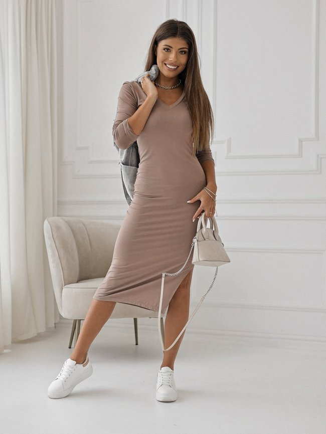Coffee midi dress