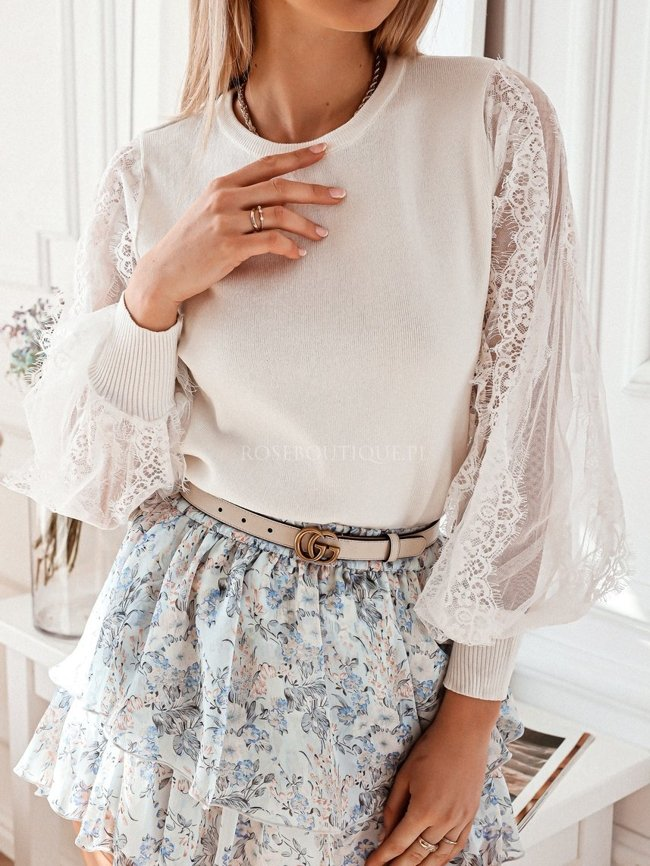 Cream sweater with lace and tulle sleeves